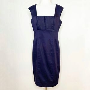 CALVIN KLEIN Navy Blue Cotton Career Dress Size 8